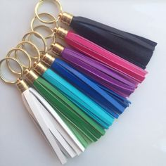 Bright Leather Tassel Keychains - White, Kelly Green, Turquoise, Cobalt Blue, Purple, Hot Pink, Black - by pjandpoppy on Etsy, $16.00