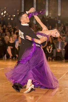 Victor & Anastasia, purple standard ballroom dress