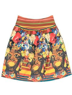 Retro Indian Mayan Culture Print Skirt With Striped Waist $59.99