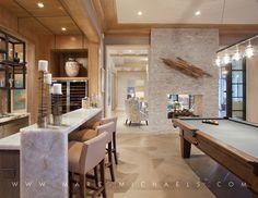 contemporary home bar / billiards room. waterfall edge