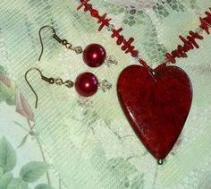 Discount Red VALENTINE DAY Heart Necklace by MyGrandmasHome