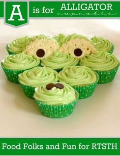 cooking with kids can be simple and fun. A is for Alligator cupcakes from Food Folks and Fun. Alligator Cupcakes, Alligator Party, Alligator Birthday, Zoo Birthday, Shoe Cupcakes, Baking Cupcakes, Cupcake Cookies, Cupcake Recipes, Birthday Themes For Boys