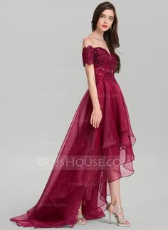 [CHF A-Linie/Princess-Linie Off-the-Schulter Asymmetrisch Organza Abendkleid mit Pailletten Dresses For Teens, Trendy Dresses, Sexy Dresses, Beautiful Dresses, Dress Outfits, Evening Dresses, Bride Dresses, Homecoming Dresses High Low, Straps Prom Dresses