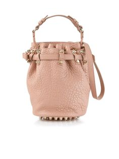 ALEXANDER WANG Small Diego Leather Bucket Bag - Blush | veryexclusive.co.uk