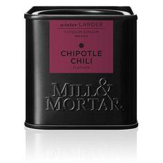 Tørret chili Ingredienser: Chipotle chili flager Nettovægt: 45 g Opbevares: Mørkt, tørt og lufttæt Oprindelse: Mexico
