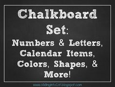 Chalkboard Classroom Combo Pack {white} numbers, letters, calendar items, shapes, posters, etc!!