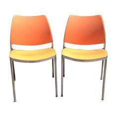 "DWR ""Gas"" Orange Side Chairs - Set of 5 - $2,800 Est. Retail - $1,660 on Chairish.com"