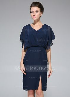 Mother of the Bride Dresses - $109.99 - Sheath/Column V-neck Knee-Length Chiffon Mother of the Bride Dress With Lace Beading Sequins Cascading Ruffles (008050417) http://jjshouse.com/Sheath-Column-V-Neck-Knee-Length-Chiffon-Mother-Of-The-Bride-Dress-With-Lace-Beading-Sequins-Cascading-Ruffles-008050417-g50417