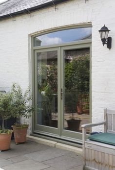 Case studies of new timber windows and new doors installed in the UK - stable doors, entrance doors, casement windows and double glazed sash windows. Modern Farmhouse Exterior, Modern Patio Doors, Entrance Doors, French Doors Exterior, Modern Patio, Exterior Doors, Modern Barn Door, Timber Door, External Doors