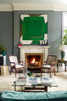 Grey Paint, Maison Jansen Desk, Green Sandra Blow Art - Living Room Design Ideas & Pictures (houseandgarden.co.uk)