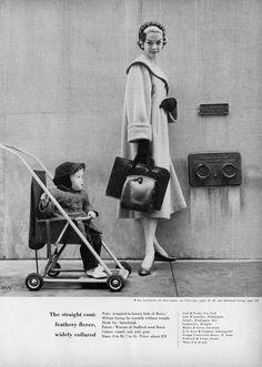 The straight fleece coat - Charm Magazine August 1954 (model Jean Patchett, photo by William Helburn).