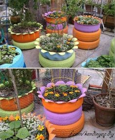 Tire flower beds and raised gardens.
