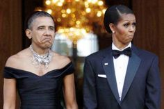 Barack & Michelle Obama Funny Face Picture | Funnyho.com