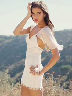 Love the lace and white.. I like the sheer shoulders also.