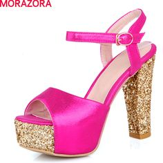 MORAZORA large size 2017 sexy high heels women sandals thick heels peep toe soft leather ankle strap woman shoes gold red