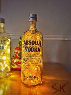Luminária de garrafa Absolut Vodka - LED Laranja