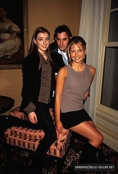 SMG, Alyson Hannigan, and Nicholas Brendon at the WB Upfronts on 1/5/97.