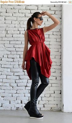 SALE Red Asymmetric Top/Sexy Red Tunic/Loose Belt