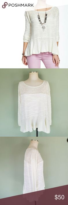 Free People Kristobel Ruffled Sweater Free People. Women's Medium. Kristobel Ruffled Sweater. Color: Eggshell Get in touch with your inner flower child in a cozy knit top styled for festival season with an embroidered illusion yoke panel and elongated bell sleeves. Boatneck. Long flounce sleeves. Unlined. Brand new with tags. Free People Tops Blouses