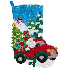 "The Christmas Drive Stocking Felt Applique Kit-18"" Long"
