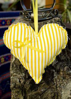 Textile yellow-white stripped heart, handmade