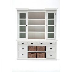 NovaSolo Halifax Library Hutch with basket set White Semi-Gloss Solid Mahogany Composite Wood Rattan Glass 8994921000213 Hutch Cabinet, Buffet Hutch, Pantry Cupboard, Kitchen Hutch, Kitchen Reno, Kitchen Remodel, Rattan Basket, Baskets, Home