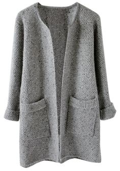 Front view of grey melange open front cardigan