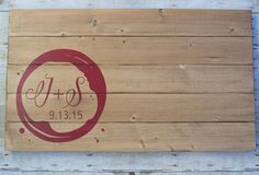 Wedding Guest Book Alternative Wood Board - Wine Glass Stain Design Vineyard Wedding