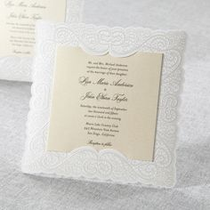 Silk Embossed Laser Cut Frame by B Wedding Invitations