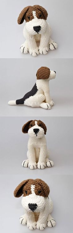 Azor The Beagle Puppy Amigurumi Pattern Crochet Dog Patterns, Amigurumi Patterns, Knitting Patterns, Crochet Bear, Crochet Animals, Crochet Dolls, Beagle Puppy, Adult Crafts, Diy Projects To Try