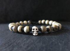 sterling silver skull rustic beige bone knotted men bracelet / Bracelets For Men, Horns, Skull, Beige, Rustic, Sterling Silver, Unique Jewelry, Handmade Gifts, Etsy