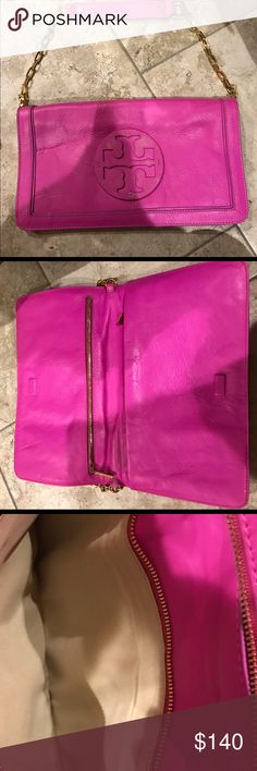Tory Burch Clutch or shoulder bag Hot pink brand new Tory clutch with gold strap chain Tory Burch Bags Shoulder Bags