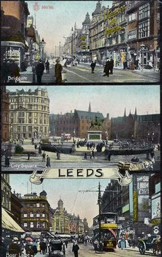 Briggate etc, multi-view postcard Old Pictures, Old Photos, Leeds City, West Yorkshire, My Town, Town Hall, Days Out, Main Street, Genealogy