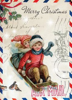 Paulo Viveiros: Vintage Montage Ephemera Christmas Designs Christmas Paper, Old Christmas, Victorian Christmas, Old Fashioned Christmas, Retro Christmas, Christmas Greetings, Christmas Scenes, Christmas Holidays, Christmas Postcards