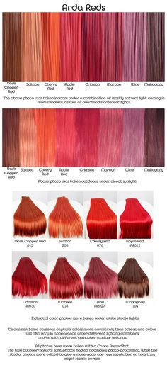 Arda reds, wig fiber color pallette.