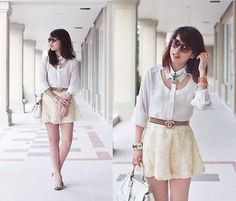 White cream cheese (by Linda Tran N) such a cool shirt.love everything about it but the shirt oh my! Shirt Skirt, Dress Skirt, Dress Up, Linda Tran, Fashion Days, Womens Fashion, Andreas, Get Dressed, Cool Shirts