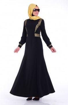 Sefamerve, Tesettür Elbise FY 52394-01 Siyah