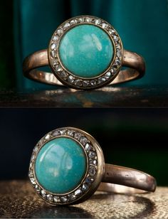 1880s Victorian Turquoise and Rose Cut Diamond Ring