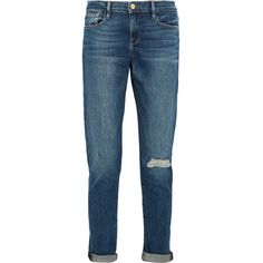 Frame Le Garcon distressed mid-rise slim boyfriend jeans ($240) ❤ liked on Polyvore featuring jeans, blue, blue ripped jeans, destructed boyfriend jeans, destroyed jeans, cuffed jeans and ripped jeans