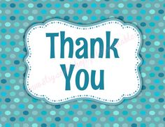 Teal Polka Dot Thank You Card  Instant Download by pdotprintables, $2.25