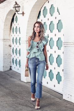 Crisp Gingham One-Shoulder Blouse With Flounced Ruffle Trim Teamed With Skinny Jeans And Cult Gaia Large Bamboo Ark Bag