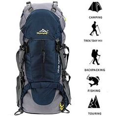 10c94bd0e4 Susufaa Hiking Backpack Daypack Waterproof Outdoor Sport Camping Fishing  Travel Climbing Mountaineering Cycling Skiing with Rain Cover Blue --  Continue to ...