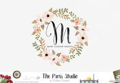 Watercolor Floral Monogram Logo Design - boutique logo, creative business branding