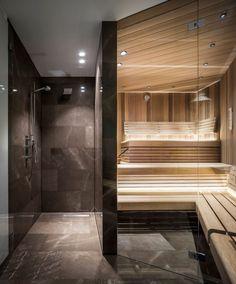 Penthouse M - Francois Hannes Steam Room Shower, Sauna Steam Room, Sauna Room, Spa Interior Design, Bathroom Design Luxury, Bathroom Interior, Men's Bathroom, Jacuzzi, Design Sauna