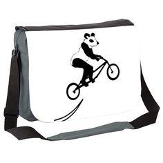 Panda on Stunt Bike Messenger Bag