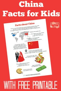 Fun China Facts for Kids. There are so many interesting facts about China! I love making these fun fact for kids printables so much. Chinese New Year Activities, New Years Activities, Preschool Activities, China For Kids, China Facts, Fun Facts About China, Around The World Theme, China World, Fun Facts For Kids