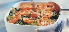 Spinazie met prei, eieren en tomaat uit de oven - Boodschappen