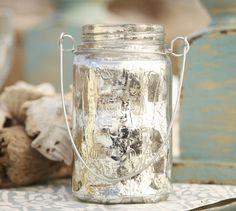 Hanging Mercury Glass Mason Jar | Pottery Barn--This would be cake to make. An empty spaghetti jar + Krylon Looking Glass spray paint + wire = great piece!