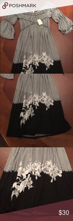 Off shoulder dress Black and white. Made to be off shoulder. New with tags. Perfect condition. Never worn. Sophie Max Dresses