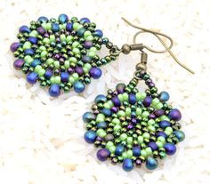 Handmade Green  and blue seed bead earrings bead by Cabinfeverclay